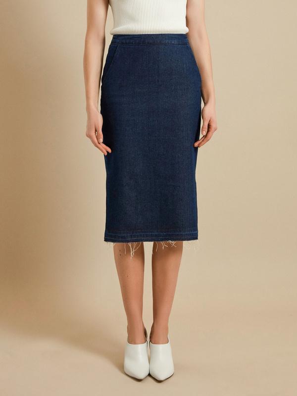 Джинсовая юбка-миди с разрезами - фото 2