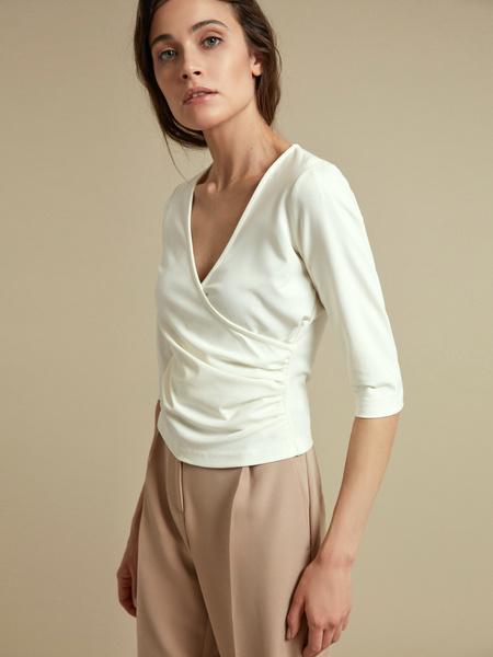 Облегающая блузка с рукавами 3/4 - фото 3