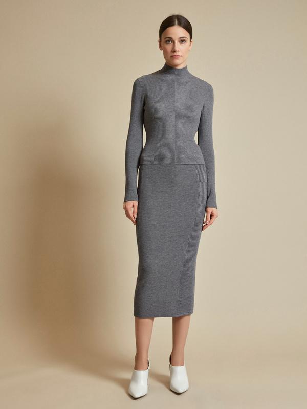 Облегающая трикотажная юбка-миди - фото 1