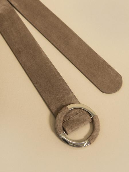Ремень с круглой пряжкой имитация замши - фото 2