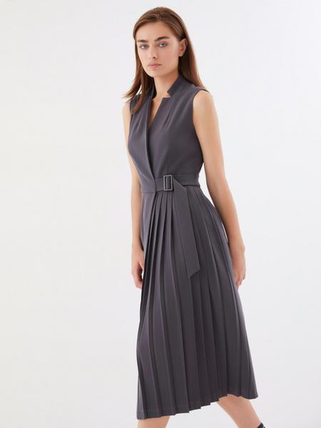 Платье с комбинированной юбкой - фото 2