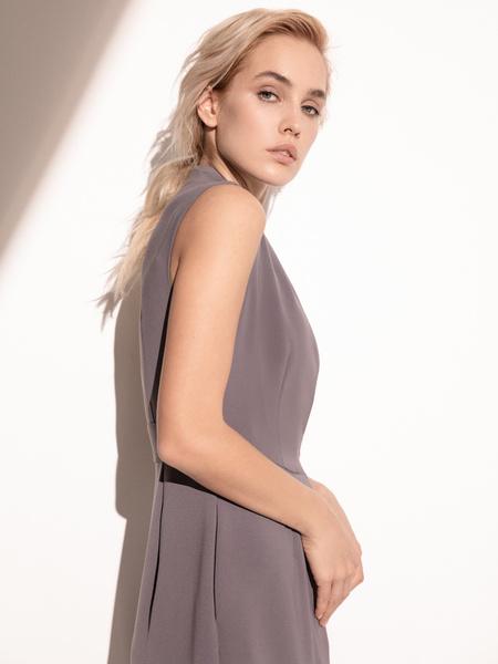 Платье с комбинированной юбкой - фото 6