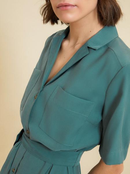 Платье-рубашка с поясом - фото 4