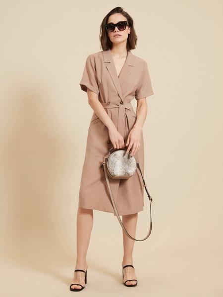 Платье-рубашка с поясом - фото 2