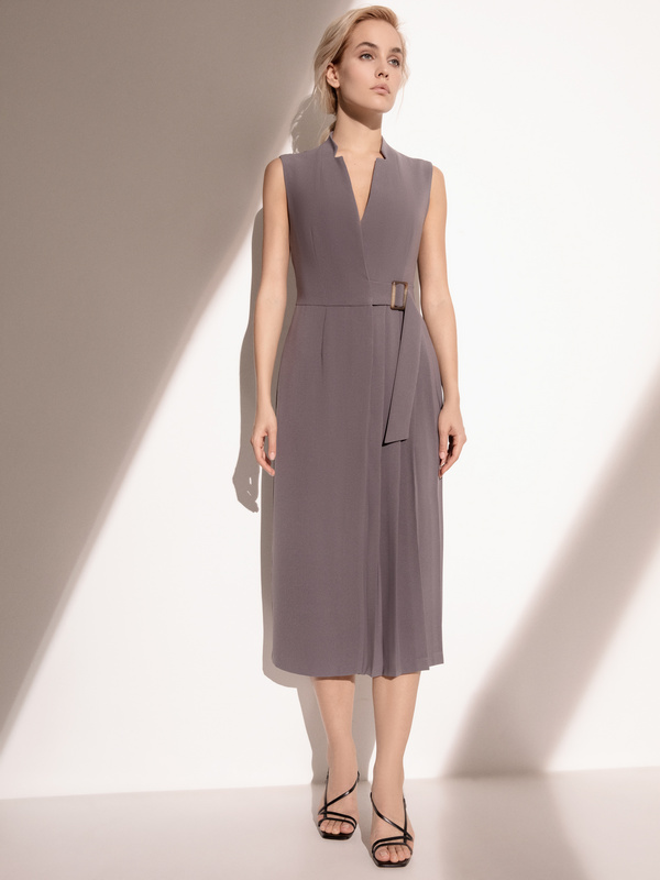 Платье с комбинированной юбкой - фото 3