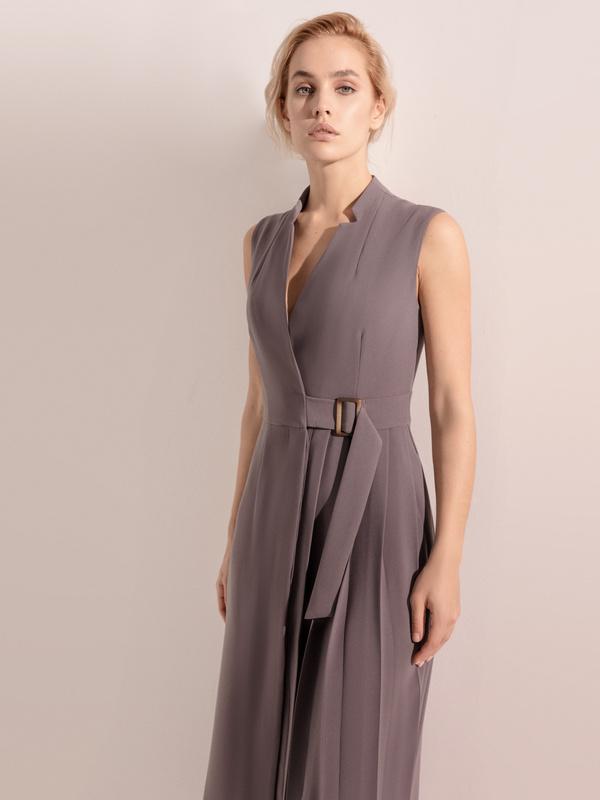 Платье с комбинированной юбкой - фото 8