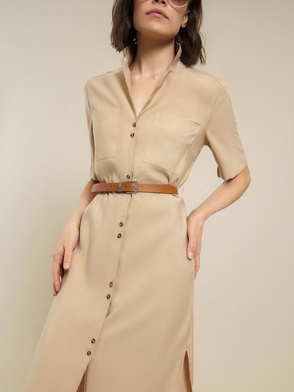 Платье-рубашка с поясом - фото 7