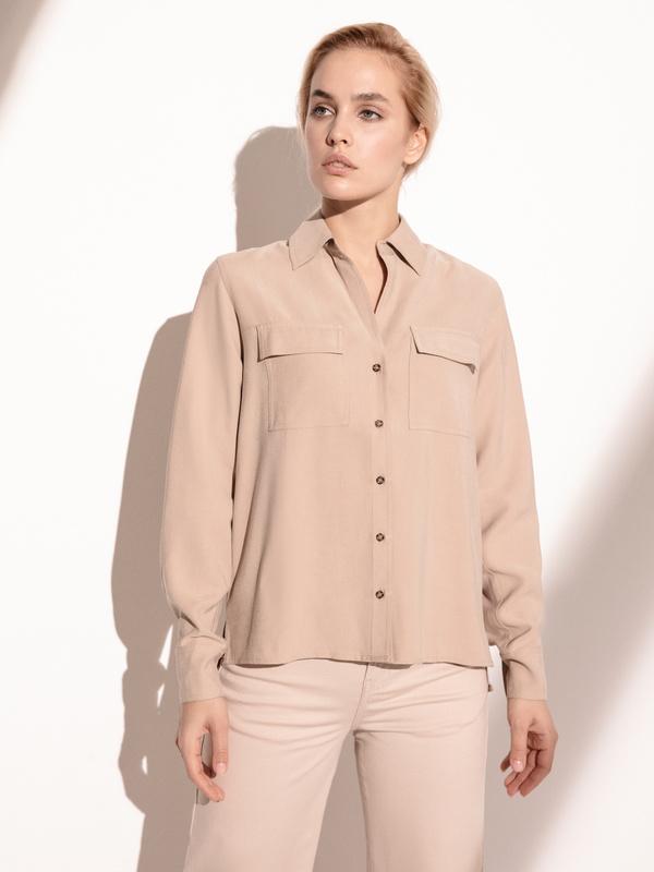Блузка с накладными карманами - фото 2