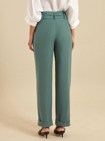 Прямые брюки с поясом - фото 4