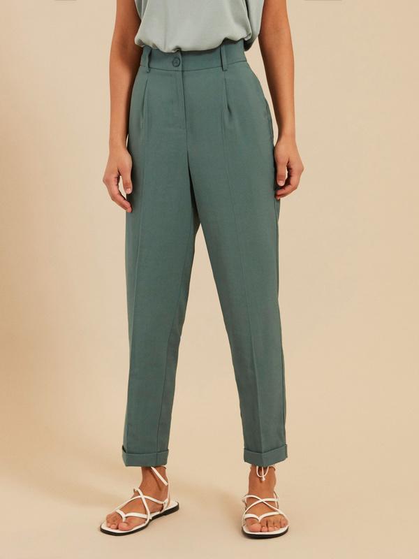 Зауженные брюки с подворотами - фото 2