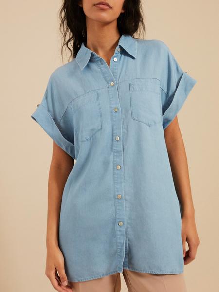 Джинсовая блузка с коротким рукавом - фото 2