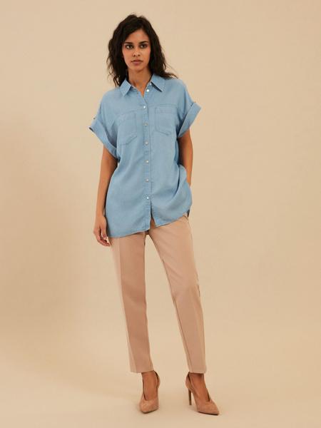 Джинсовая блузка с коротким рукавом - фото 5