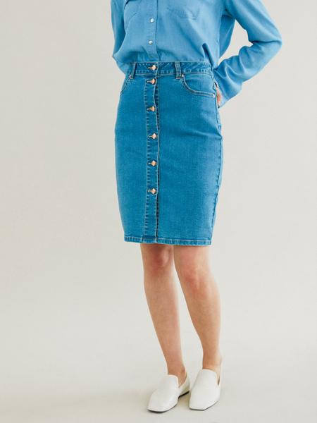 Зауженная джинсовая юбка - фото 2
