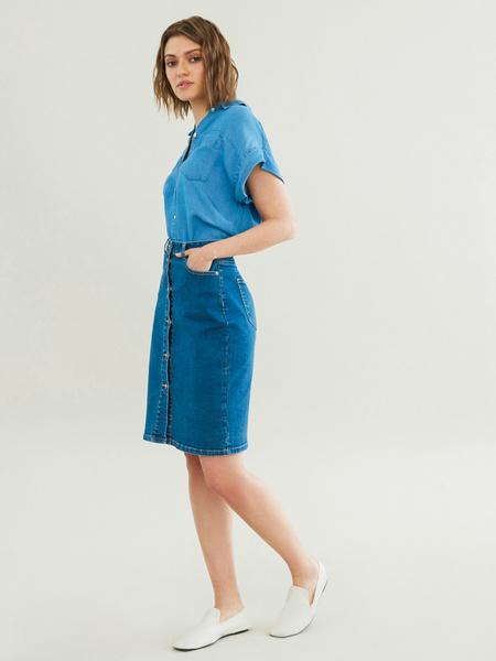 Зауженная джинсовая юбка - фото 1