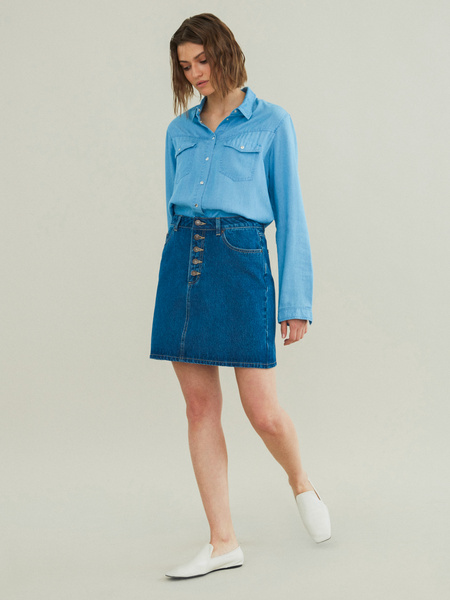 Джинсовая мини-юбка - фото 1