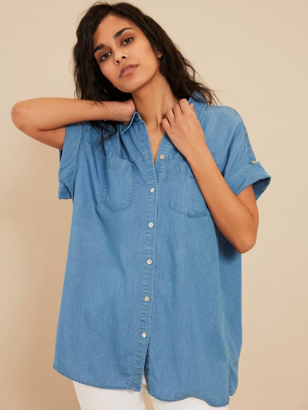 Джинсовая блузка с коротким рукавом - фото 1