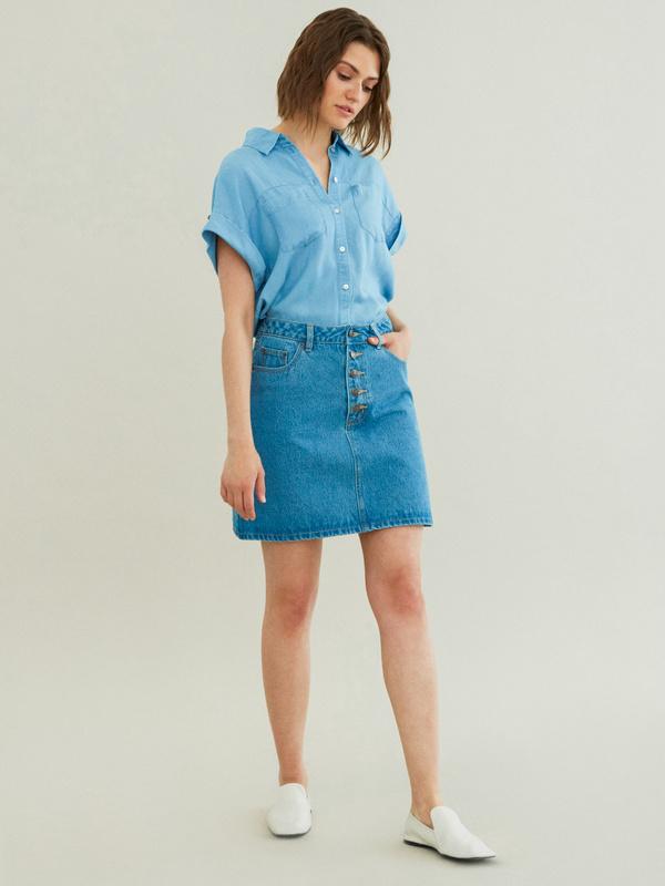 Джинсовая мини-юбка