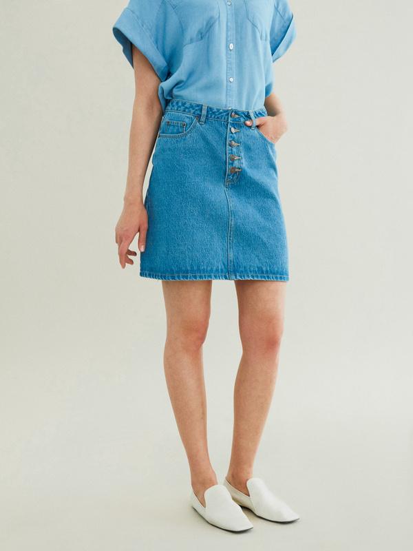 Джинсовая мини-юбка - фото 2