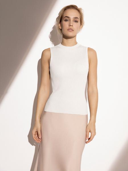 Блузка в рубчик с открытыми плечами - фото 2
