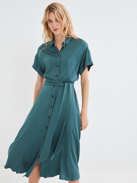 Платье-миди с коротким рукавом - фото 1
