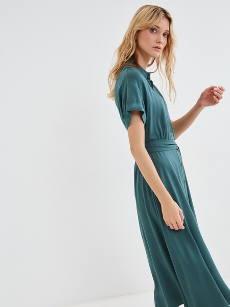 Платье-миди с коротким рукавом - фото 6