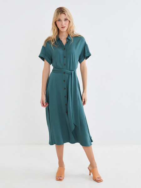 Платье-миди с коротким рукавом - фото 8
