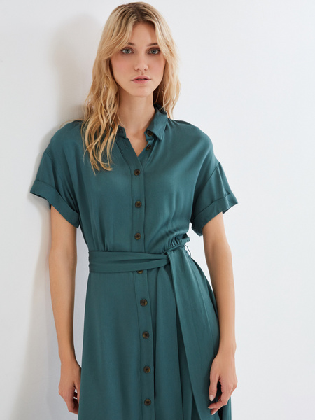 Платье-миди с коротким рукавом - фото 9