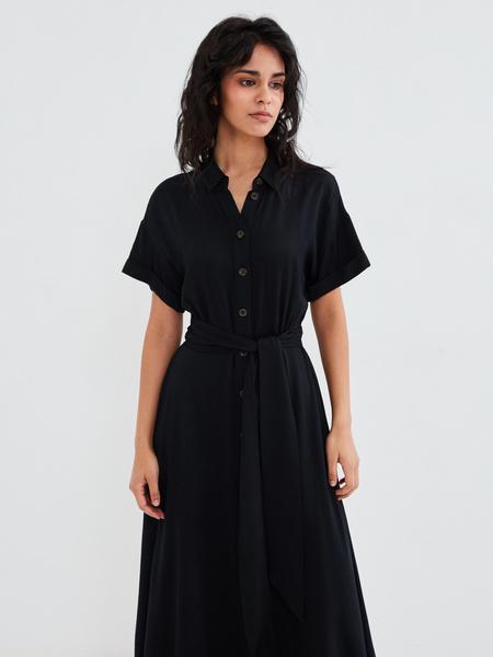 Платье-миди с коротким рукавом - фото 2