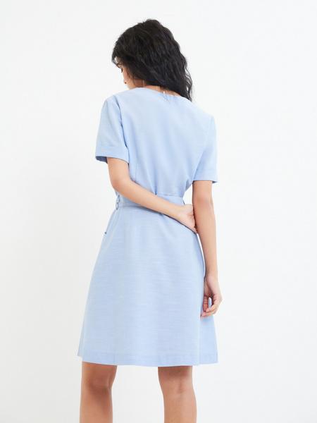 Платье-рубашка с карманами - фото 4