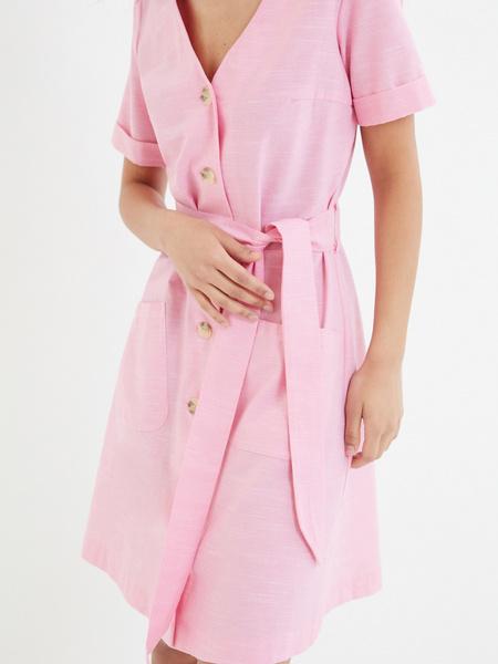 Платье-рубашка с карманами - фото 3