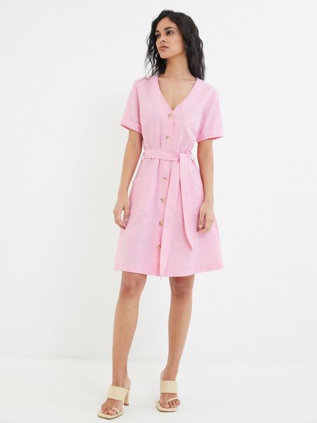 Платье-рубашка с карманами - фото 6