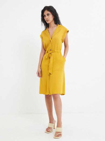 Платье-рубашка на поясе - фото 1
