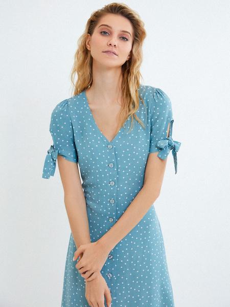 Платье с рукавами на завязках - фото 4