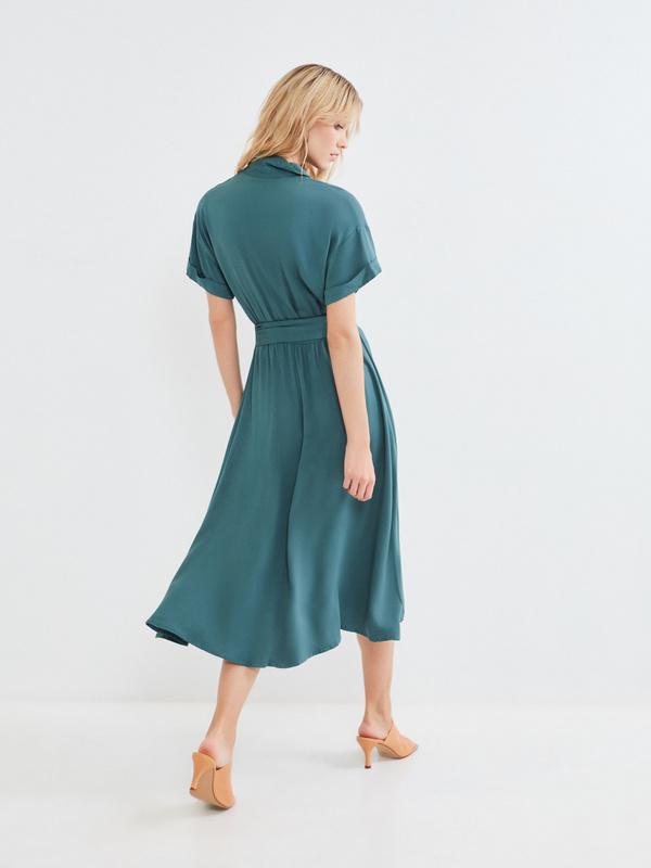 Платье-миди с коротким рукавом - фото 7