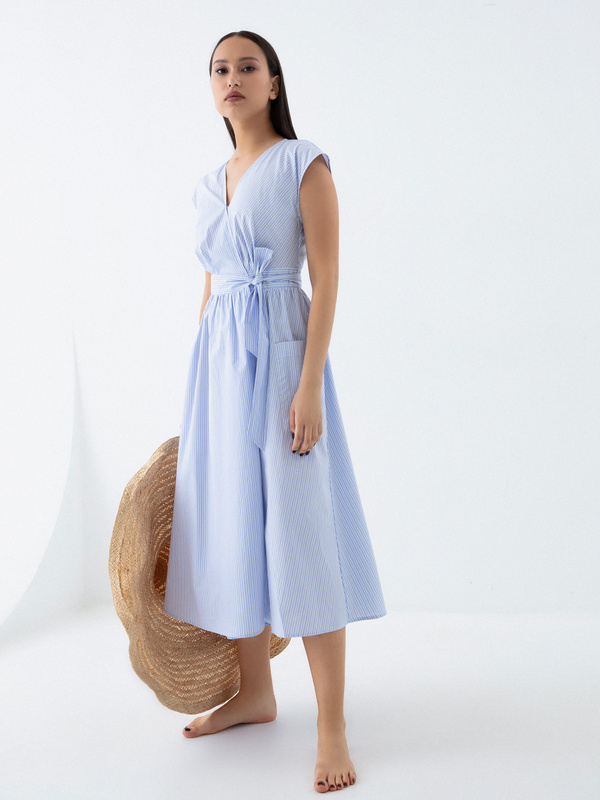 Платье из 100% хлопка с карманами - фото 1