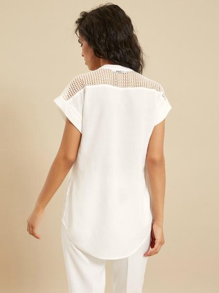 Блузка с ажурной вставкой - фото 4