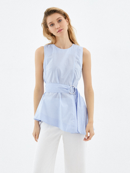Блузка из 100% хлопка с асимметрией - фото 1