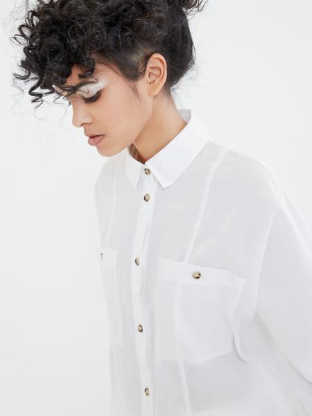 Блузка с карманами на груди - фото 2