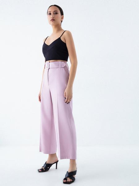 Прямые брюки с поясом - фото 2