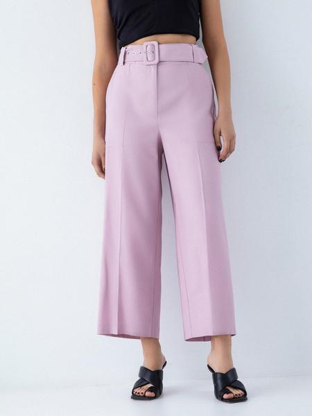 Прямые брюки с поясом - фото 3