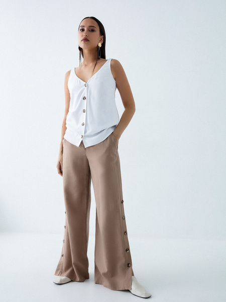 Широкие брюки с пуговицами по бокам - фото 1