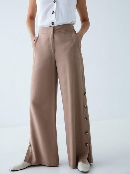 Широкие брюки с пуговицами по бокам - фото 2