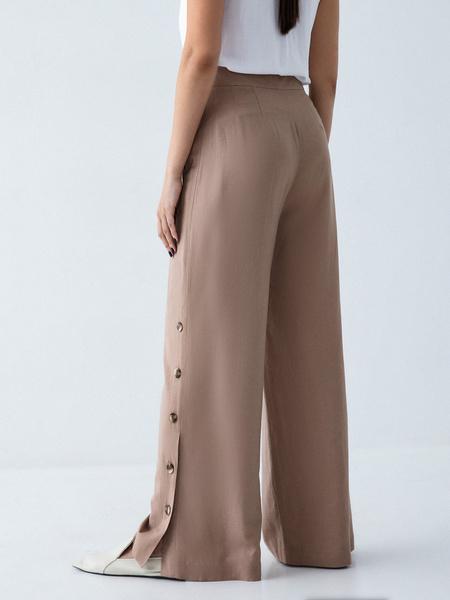 Широкие брюки с пуговицами по бокам - фото 4