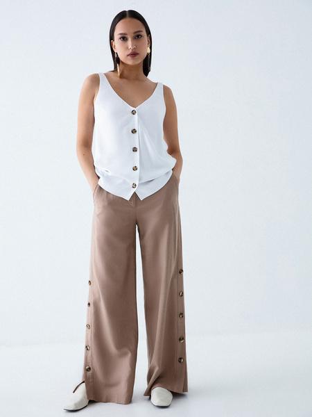 Широкие брюки с пуговицами по бокам - фото 5