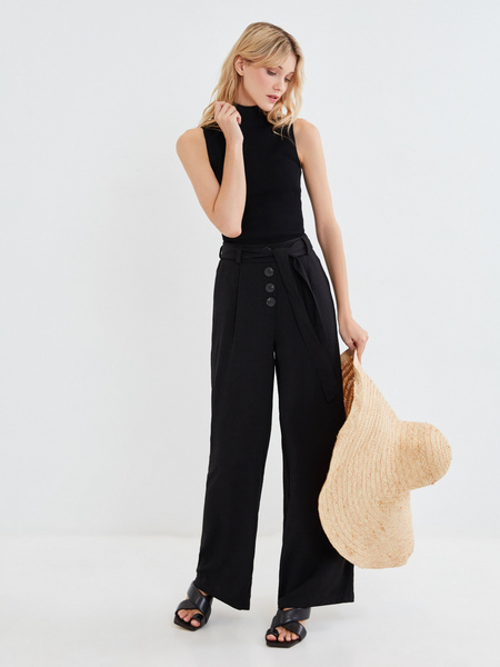 Широкие брюки с поясом - фото 1