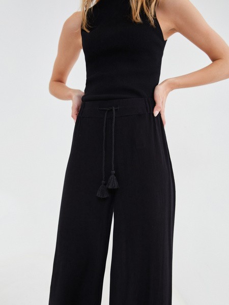 Широкие брюки с поясом-шнурком - фото 2