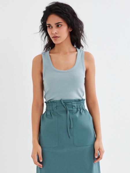 Хлопковая юбка-миди с разрезом - фото 5