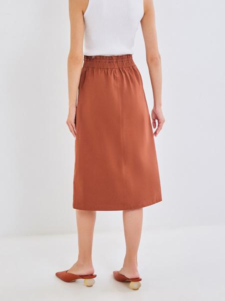 Хлопковая юбка-миди с разрезом - фото 4