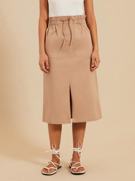 Хлопковая юбка-миди с разрезом - фото 1