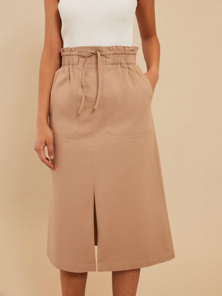 Хлопковая юбка-миди с разрезом - фото 2